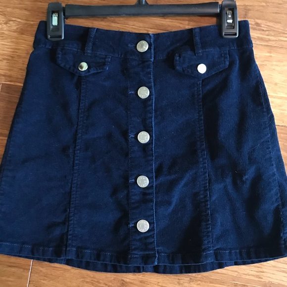 d16fcd4df BDG Dresses & Skirts - BDG navy corduroy button up skirt